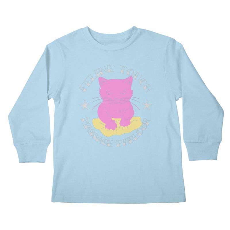 Feline Touch Massage Parlour Kids Longsleeve T-Shirt by Hello Siyi