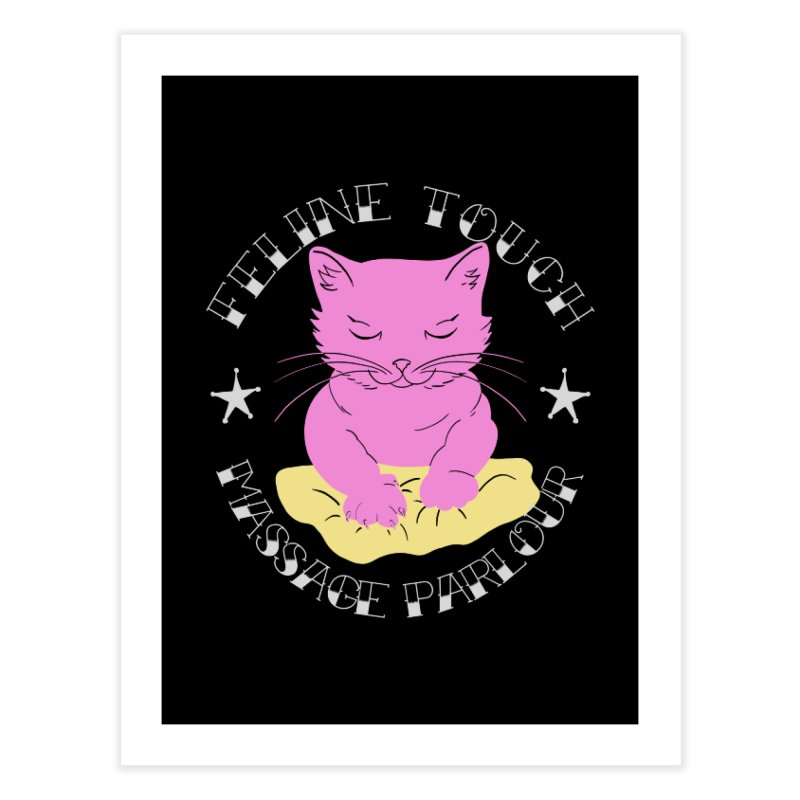 Feline Touch Massage Parlour Home Fine Art Print by Hello Siyi