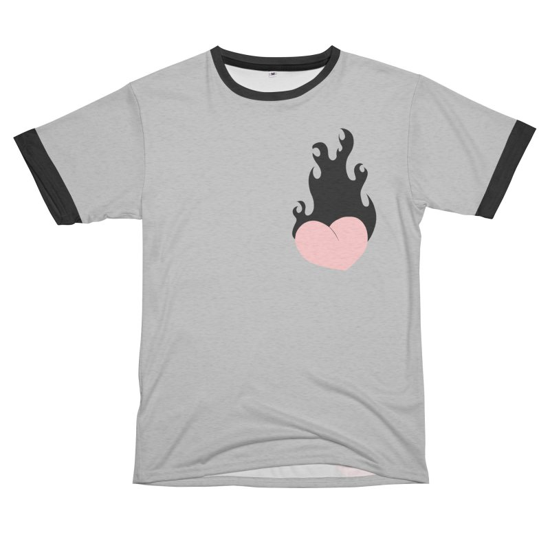 Burning heart Women's Unisex French Terry T-Shirt Cut & Sew by Hello Siyi
