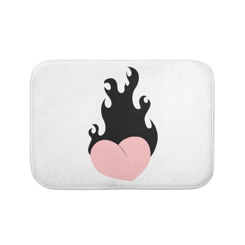 Burning heart Home Bath Mat by Hello Siyi