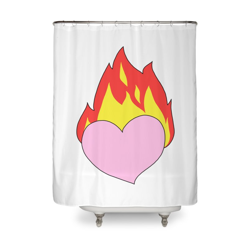 Fiery heart Home Shower Curtain by Hello Siyi