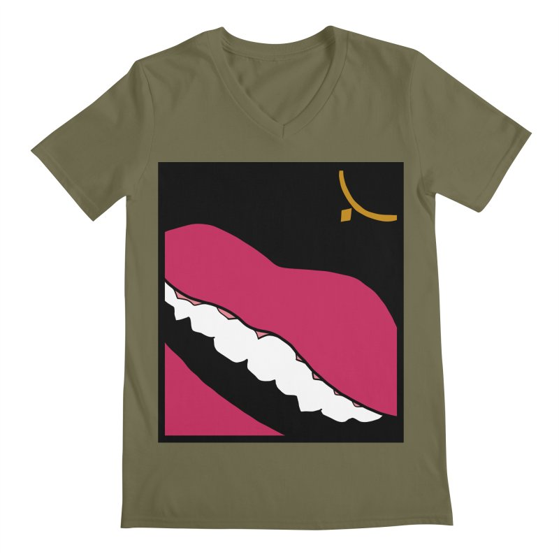 AHA lips Men's Regular V-Neck by Hello Siyi