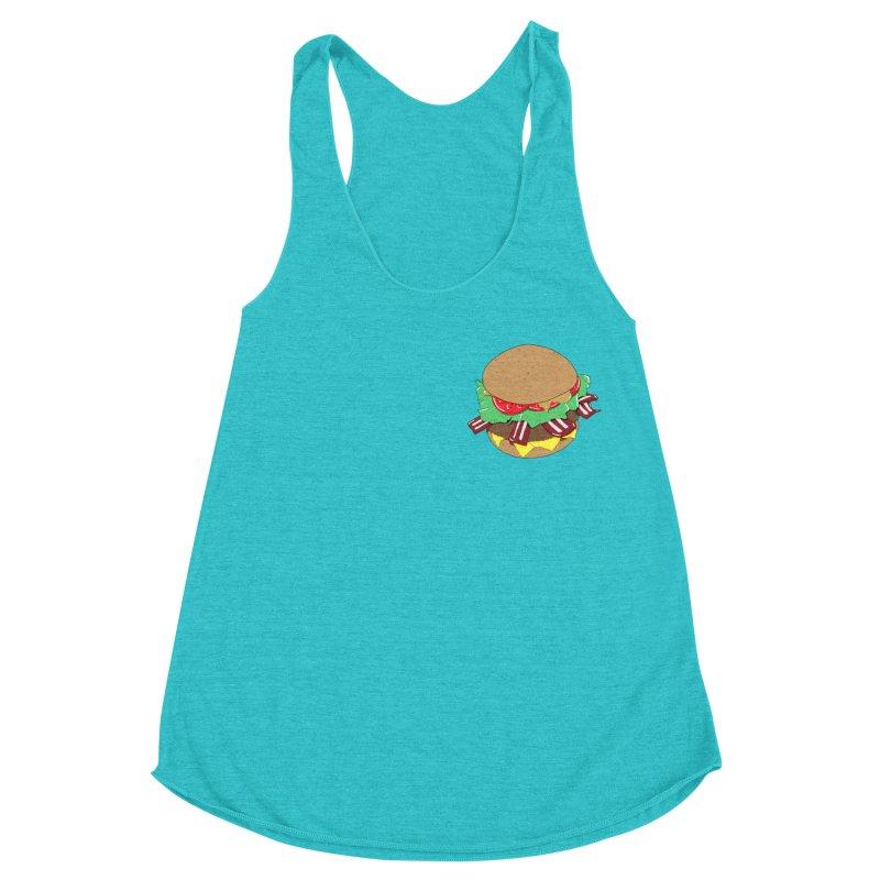 Burger (pocket) Women's Racerback Triblend Tank by Hello Siyi