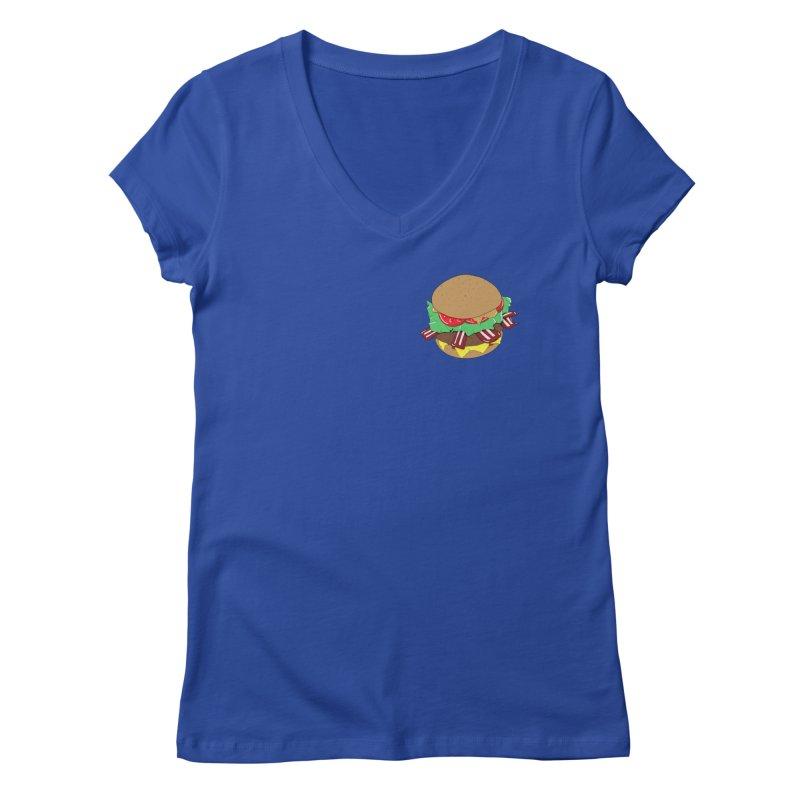 Burger (pocket) Women's Regular V-Neck by Hello Siyi
