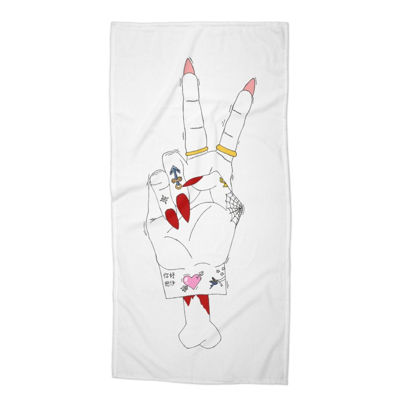 Peace, love and tattoos Accessories Beach Towel by Hello Siyi