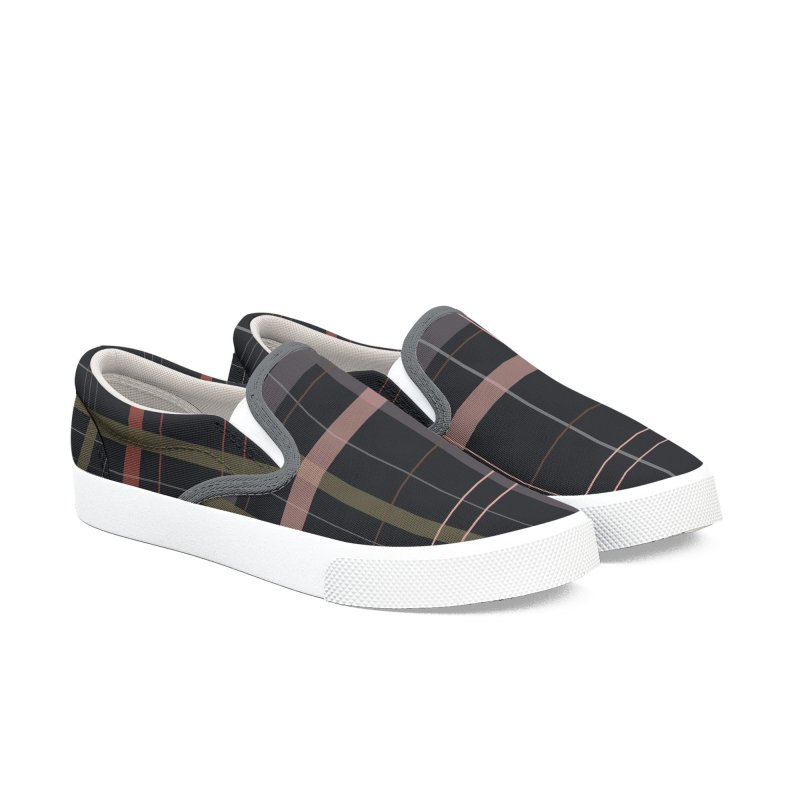 A very gloomy plaid Men's Slip-On Shoes by Hello Siyi