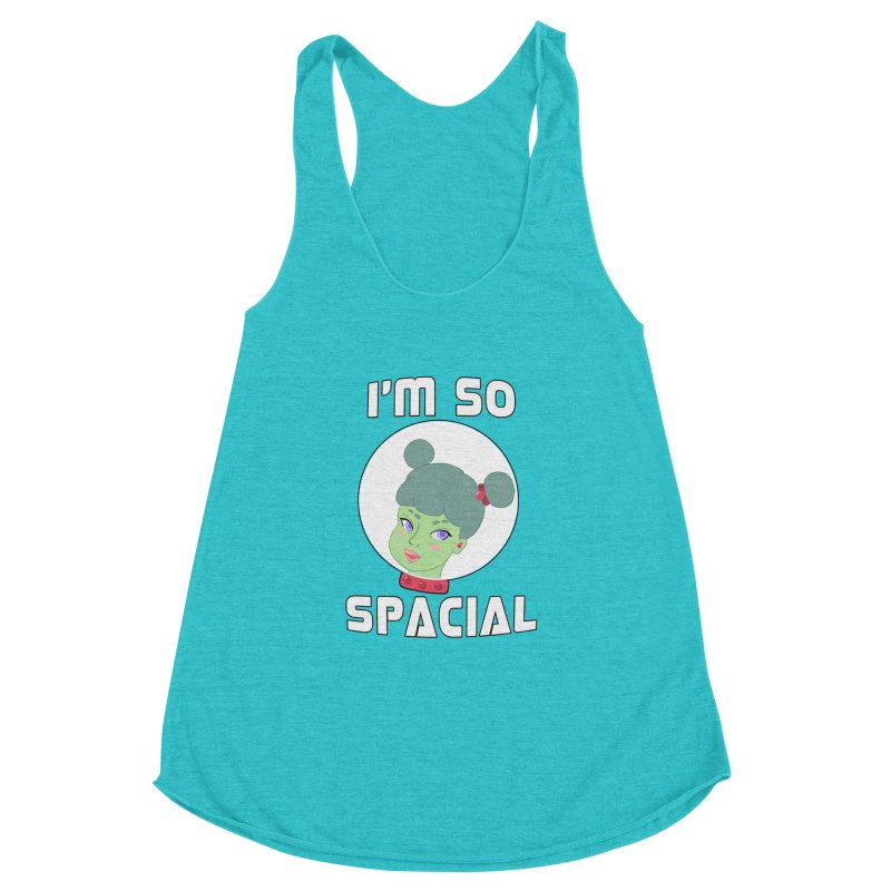 I'm so spacial (color version) Women's Racerback Triblend Tank by Hello Siyi