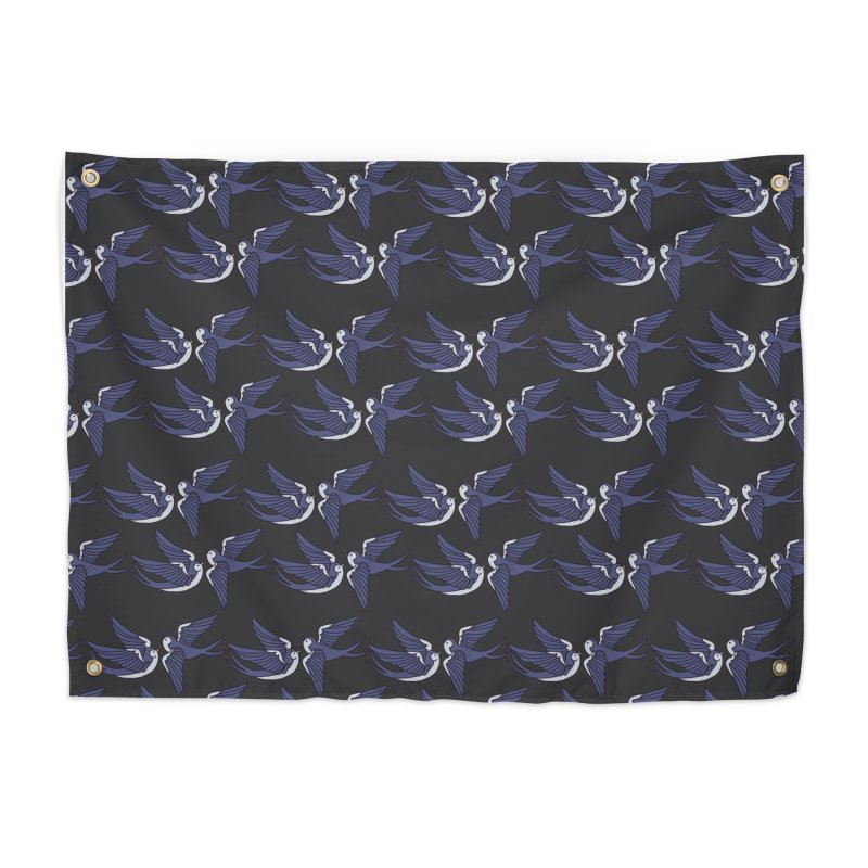 Swallows on black Home Tapestry by Hello Siyi