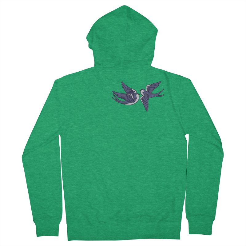 Swallows on black Men's Zip-Up Hoody by Hello Siyi