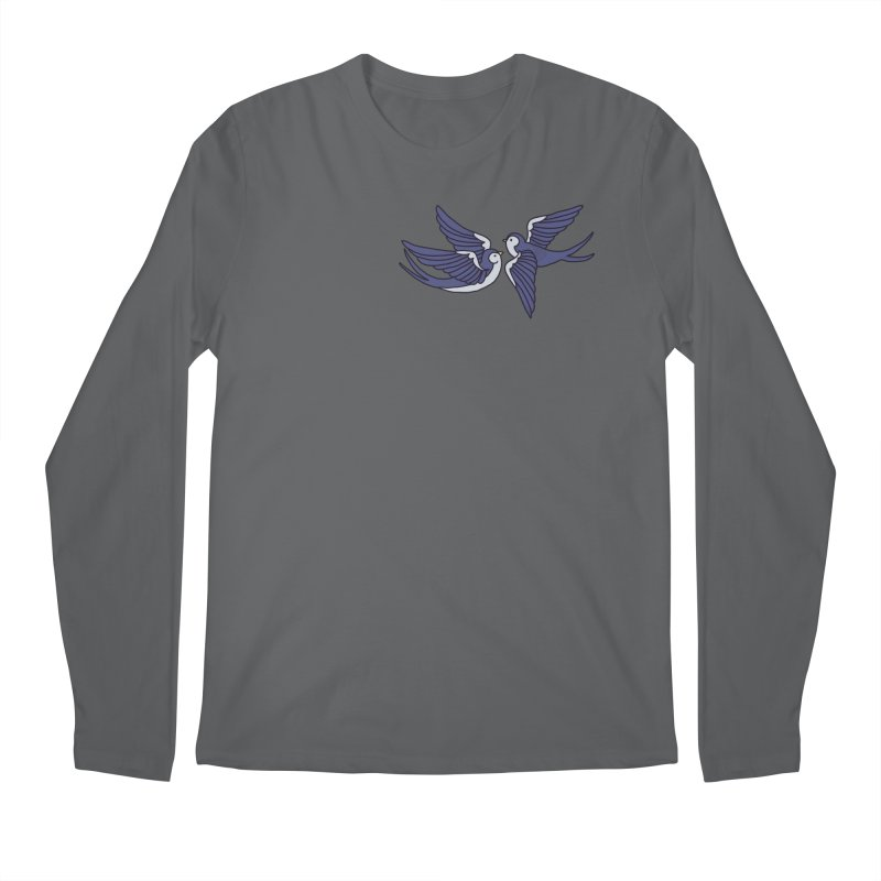 Swallows on black Men's Longsleeve T-Shirt by Hello Siyi