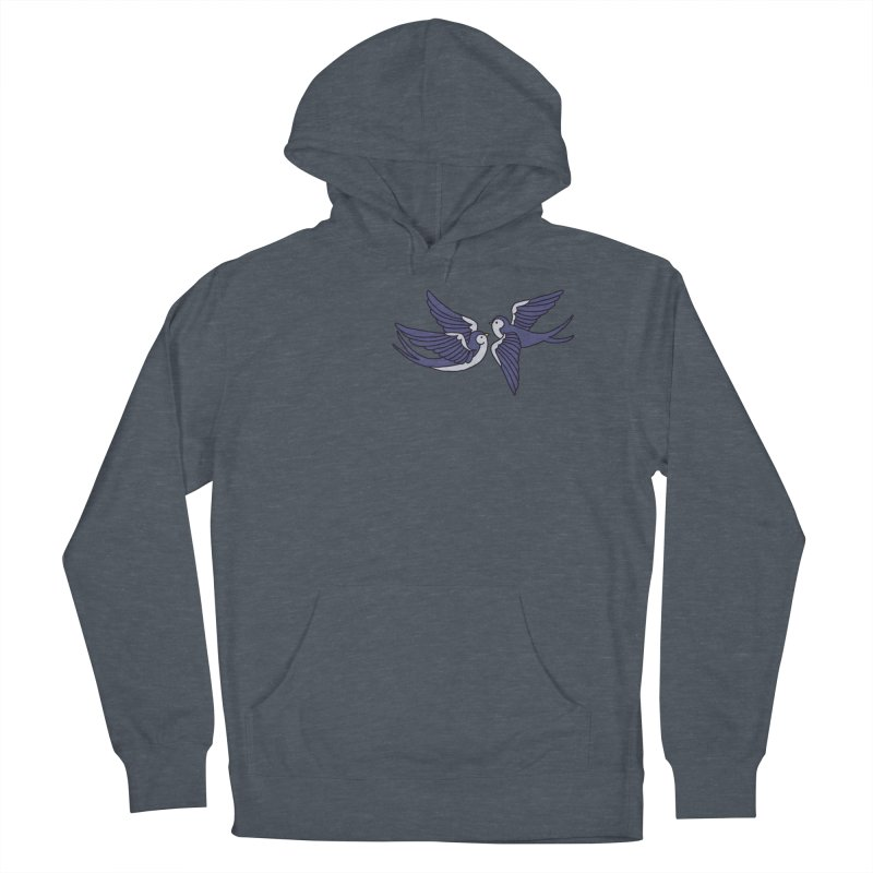 Swallows on black Women's French Terry Pullover Hoody by Hello Siyi