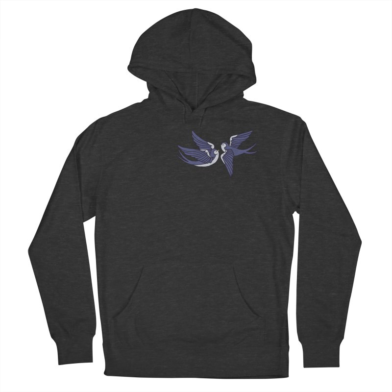 Swallows on black Men's French Terry Pullover Hoody by Hello Siyi