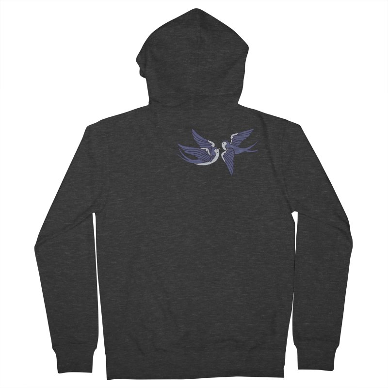 Swallows on black Women's French Terry Zip-Up Hoody by Hello Siyi