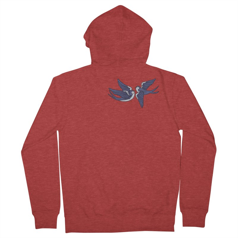Swallows on black Men's French Terry Zip-Up Hoody by Hello Siyi