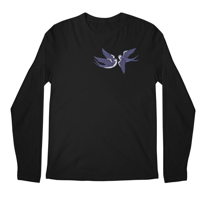 Swallows on black Men's Regular Longsleeve T-Shirt by Hello Siyi
