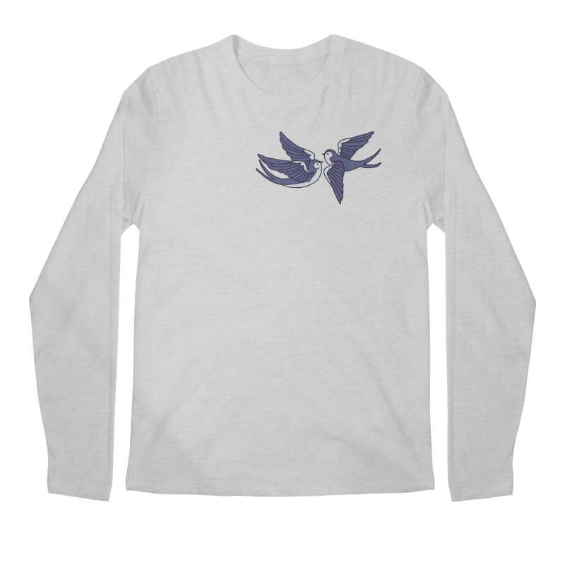 Swallows on black Men's Regular Longsleeve T-Shirt by Hello Siyi