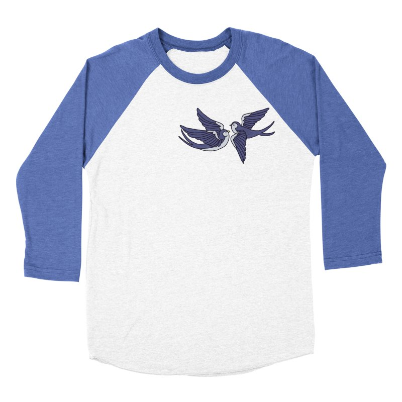 Swallows on black Women's Baseball Triblend Longsleeve T-Shirt by Hello Siyi