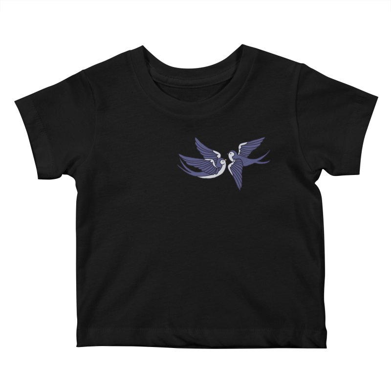Swallows on black Kids Baby T-Shirt by Hello Siyi