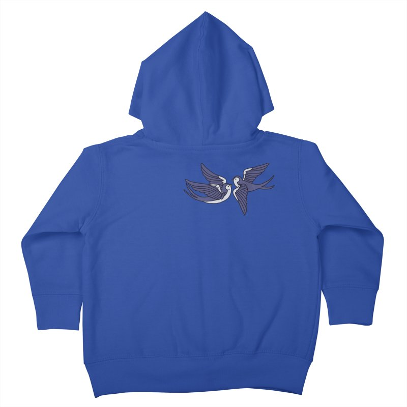 Swallows on black Kids Toddler Zip-Up Hoody by Hello Siyi