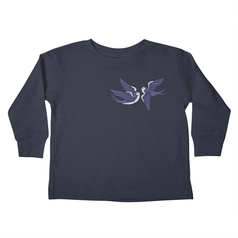 Swallows on black Kids Toddler Longsleeve T-Shirt by Hello Siyi