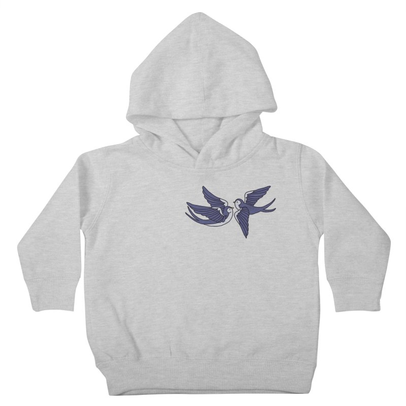 Swallows on black Kids Toddler Pullover Hoody by Hello Siyi