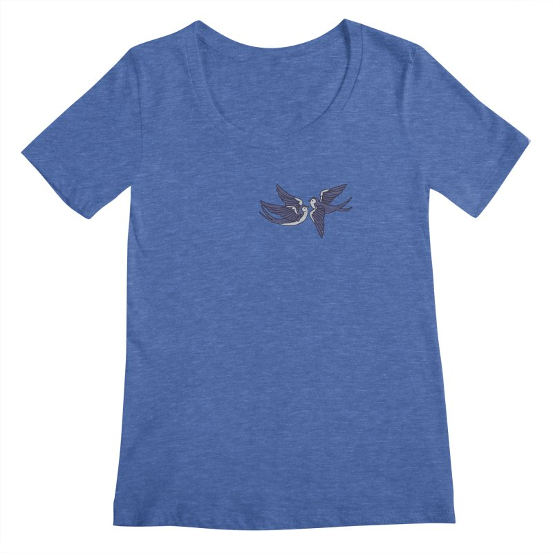 Swallows on black Women's Regular Scoop Neck by Hello Siyi