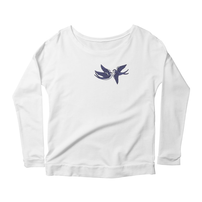 Swallows on black Women's Scoop Neck Longsleeve T-Shirt by Hello Siyi
