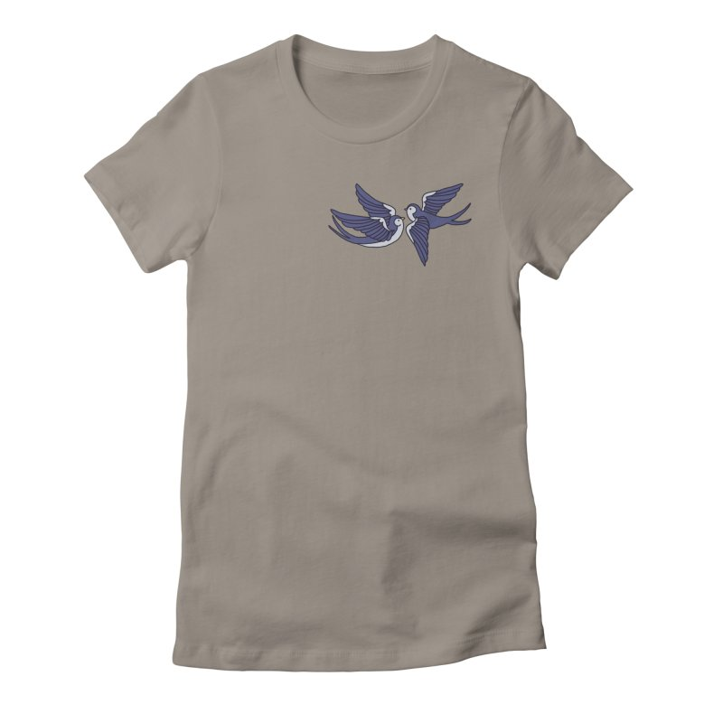 Swallows on black Women's Fitted T-Shirt by Hello Siyi