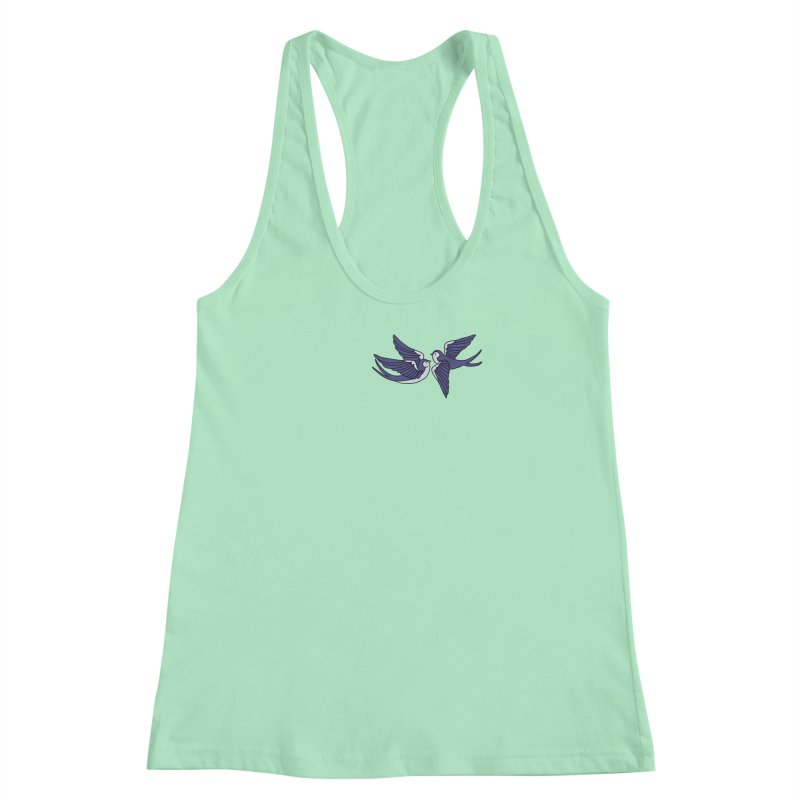 Swallows on black Women's Racerback Tank by Hello Siyi