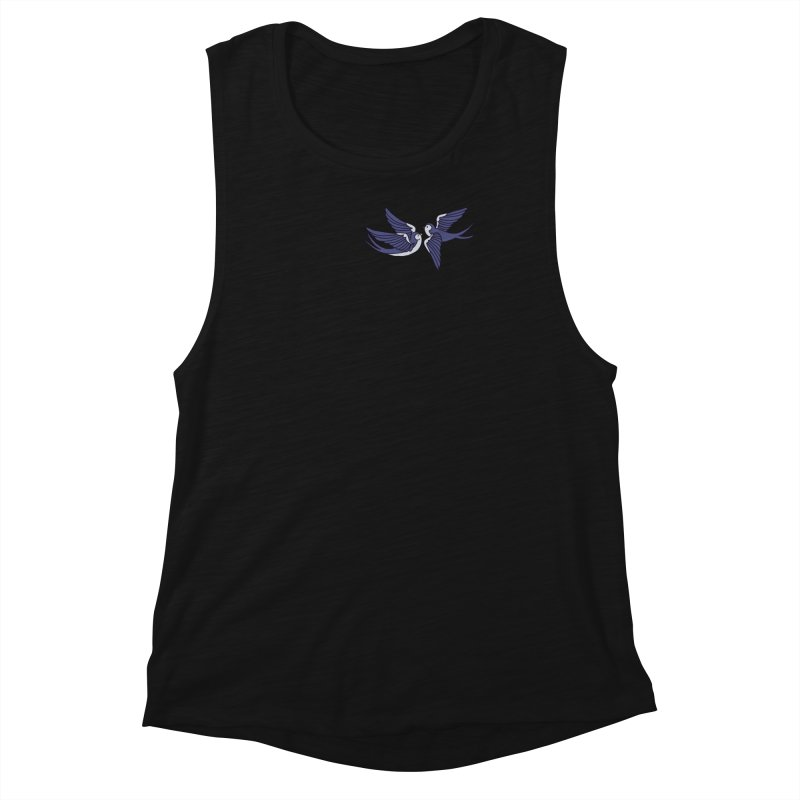 Swallows on black Women's Muscle Tank by Hello Siyi