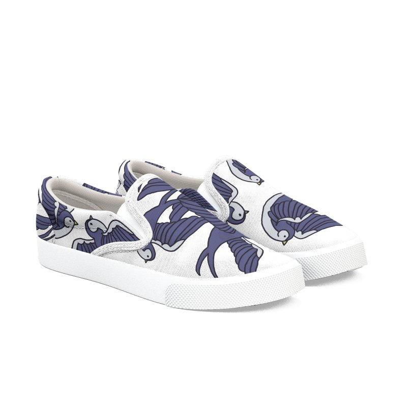 Swallows on white Men's Slip-On Shoes by Hello Siyi