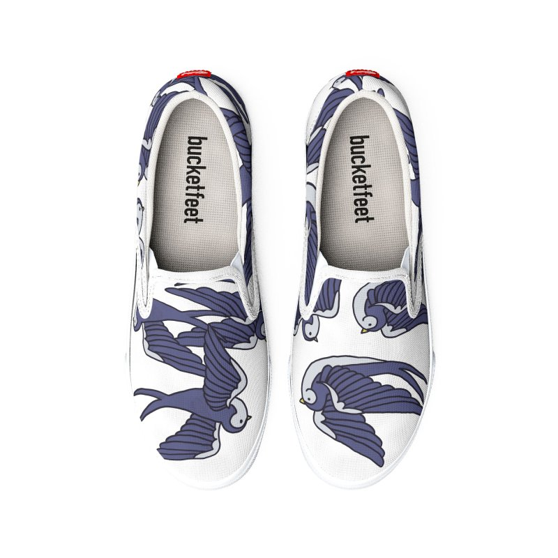 Swallows on white Men's Shoes by Hello Siyi