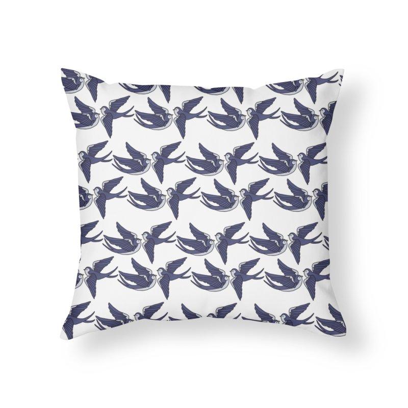 Swallows on white Home Throw Pillow by Hello Siyi