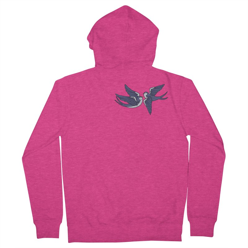 Swallows on white Women's French Terry Zip-Up Hoody by Hello Siyi