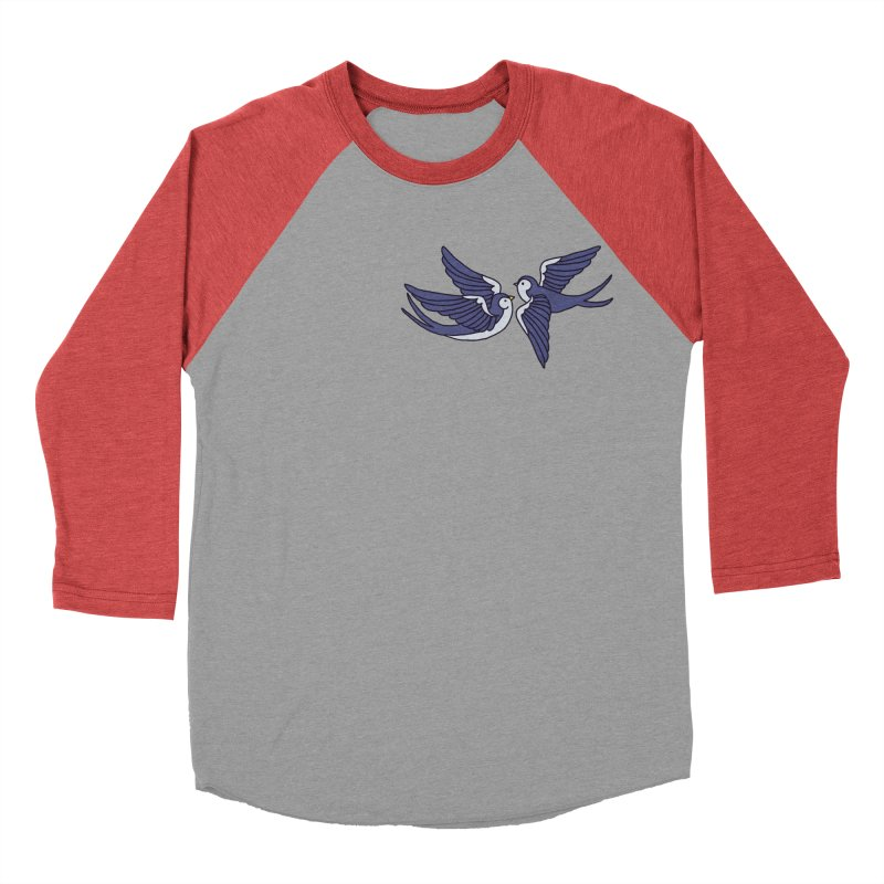 Swallows on white Women's Baseball Triblend Longsleeve T-Shirt by Hello Siyi