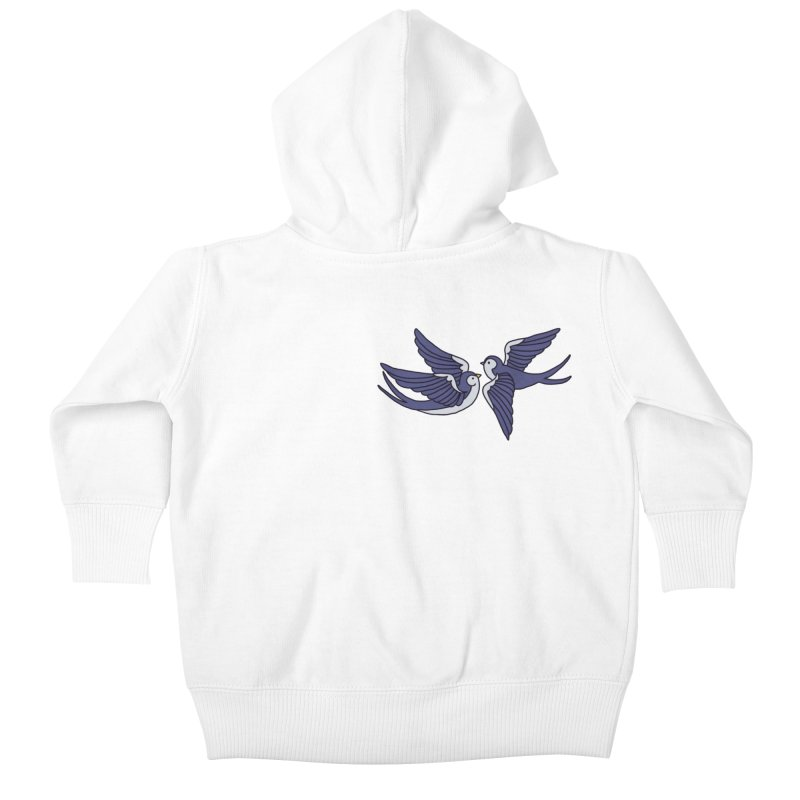 Swallows on white Kids Baby Zip-Up Hoody by Hello Siyi