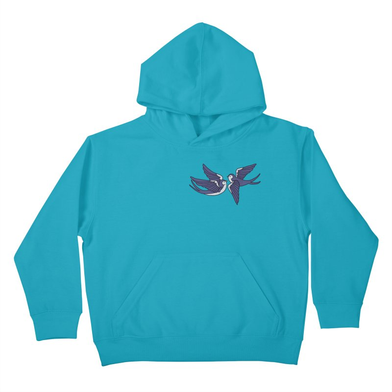 Swallows on white Kids Pullover Hoody by Hello Siyi