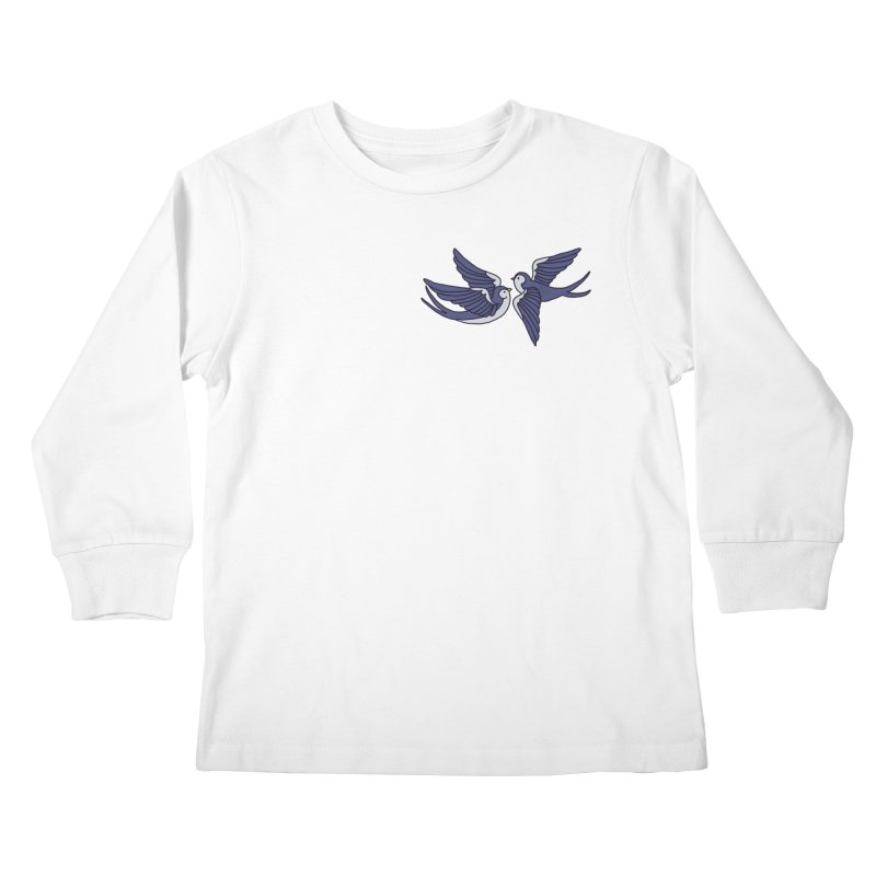 Swallows on white Kids Longsleeve T-Shirt by Hello Siyi