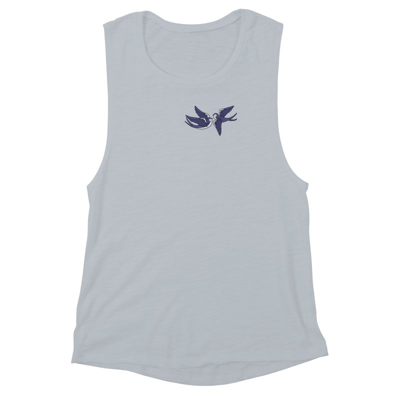 Swallows on white Women's Muscle Tank by Hello Siyi