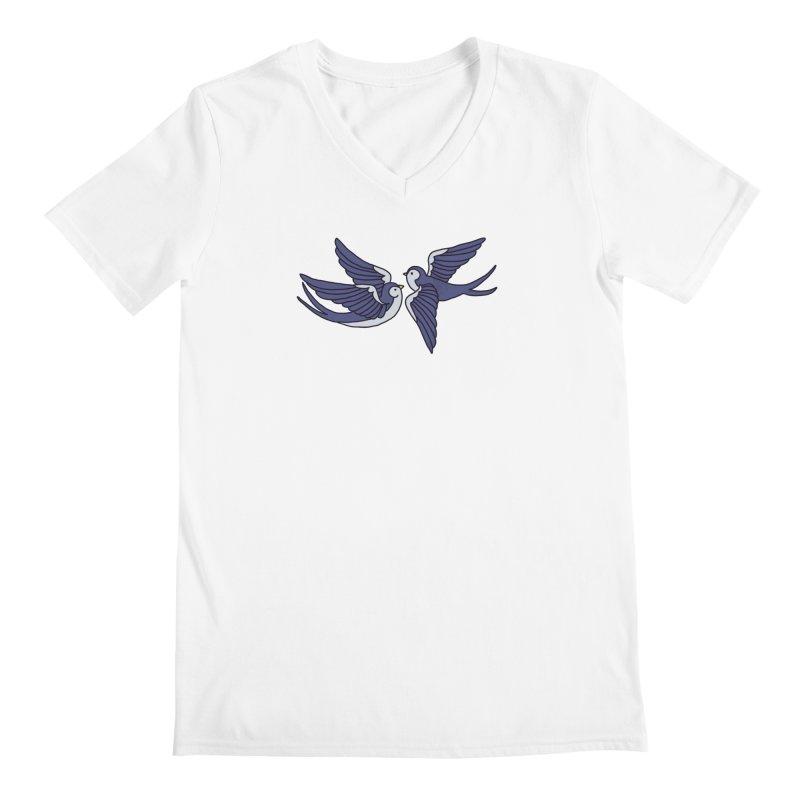 Swallows on white Men's V-Neck by Hello Siyi