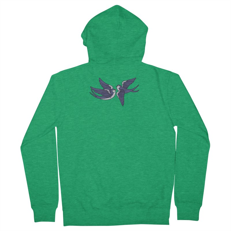 Swallows on white Men's Zip-Up Hoody by Hello Siyi