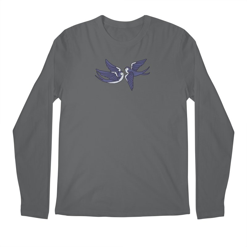 Swallows on white Men's Regular Longsleeve T-Shirt by Hello Siyi