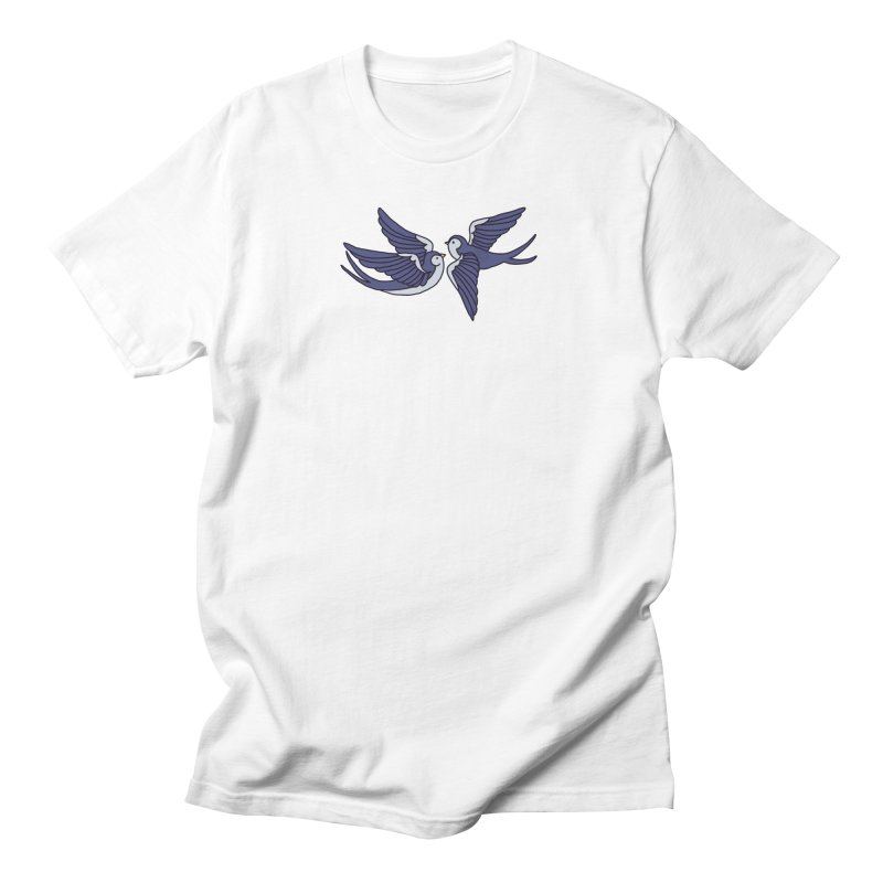 Swallows on white in Men's Regular T-Shirt White by Hello Siyi