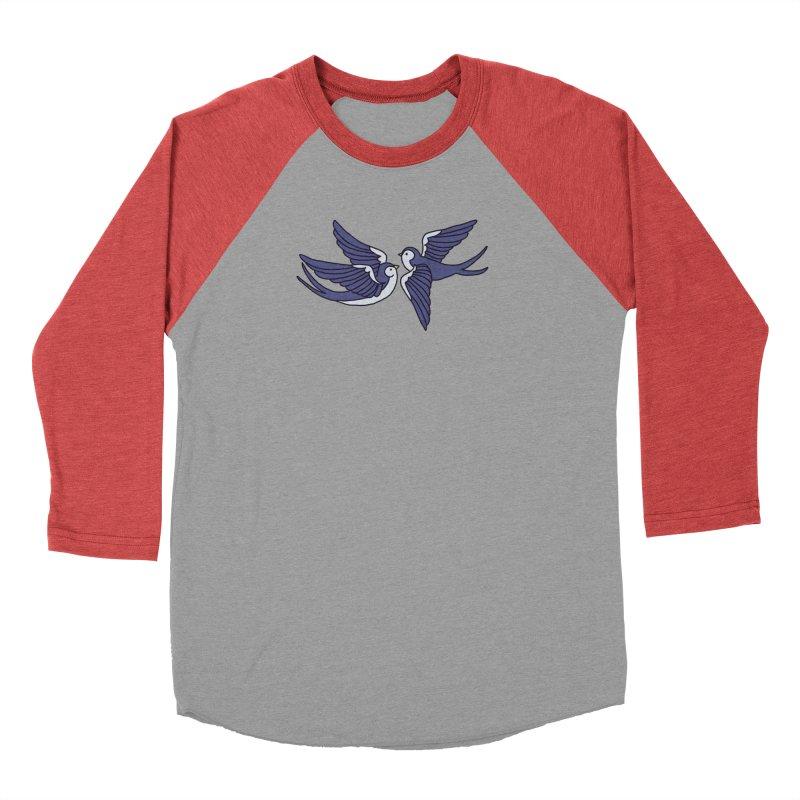 Swallows on white Women's Baseball Triblend Longsleeve T-Shirt by Hello Siyi