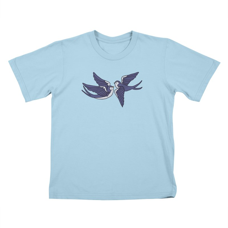 Swallows on white Kids T-Shirt by Hello Siyi