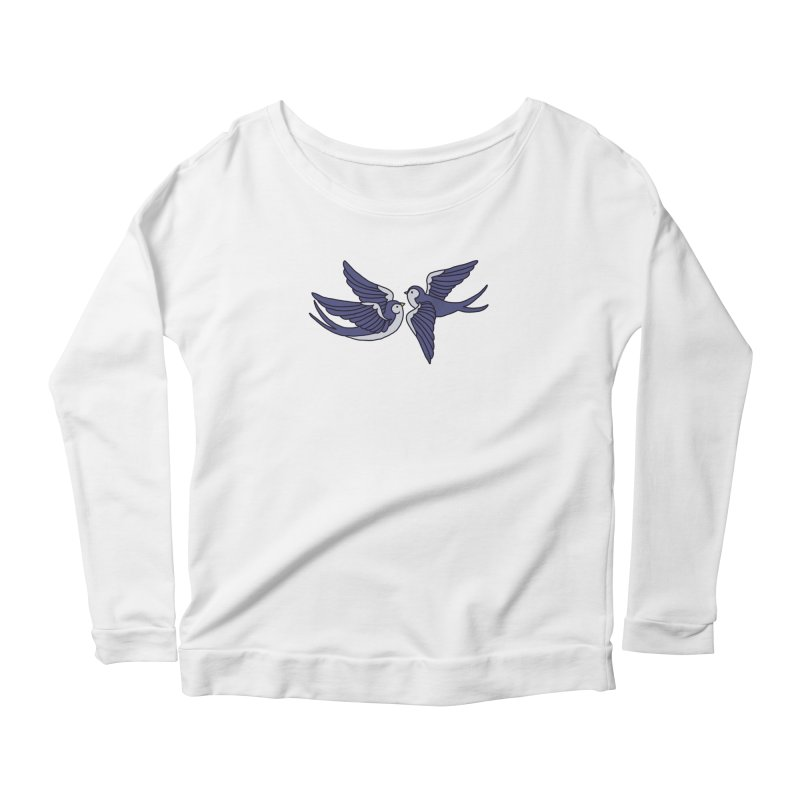 Swallows on white Women's Scoop Neck Longsleeve T-Shirt by Hello Siyi
