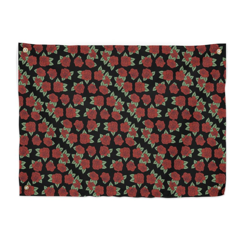 Bloody roses on black Home Tapestry by Hello Siyi