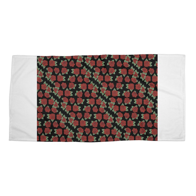 Bloody roses on black Accessories Beach Towel by Hello Siyi
