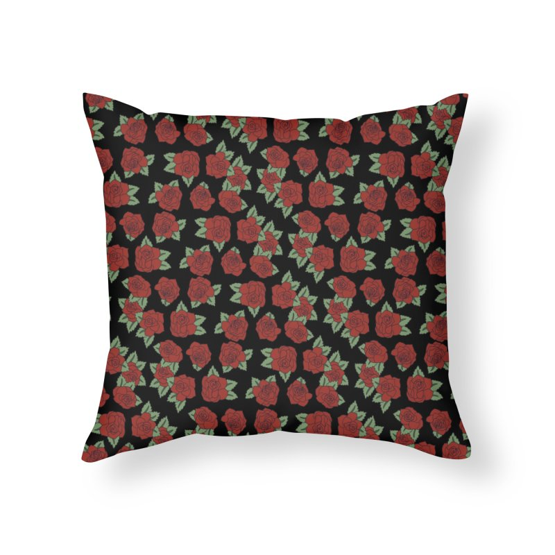 Bloody roses on black Home Throw Pillow by Hello Siyi
