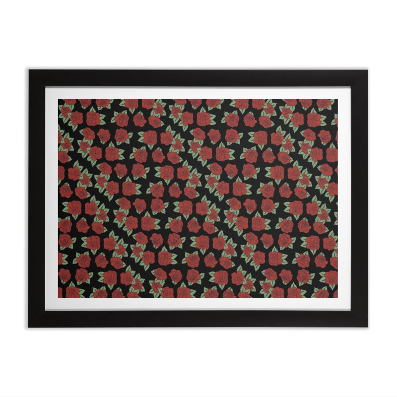 Bloody roses on black Home Framed Fine Art Print by Hello Siyi